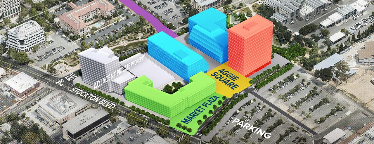 Aerial photo and digital illustration showing the proposed Aggie Square development