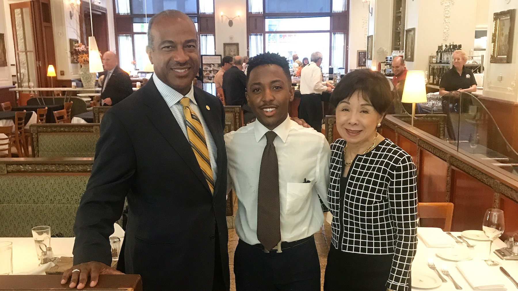 Chancellor May with Doris Matsui and student, Davares Robinson