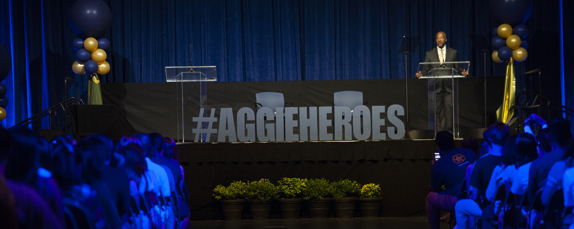 Chancellor May invites the UC Davis community to _become_ Aggie Heroes at the 2018 Fall Welcome.