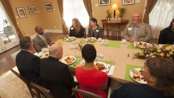 Chancellor Gary May holds his first Chancellor's Breakfast with the Staff Assembly on August 17, 2017 at the Chancellor's residence.