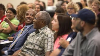 Chancellor Gary May talks at the Student Affairs Stay Day Conference on August 23, 2017 at the UC Davis Conference Center.