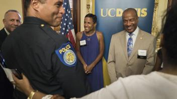 Chancellor Gary May and his wife, LeShelle May, are introduced to the new Sacramento Police Chief, Daniel Hahn at the Sacramento Minority Business Councils at the Leland Stanford Mansion in Sacramento on August 30, 2017.
