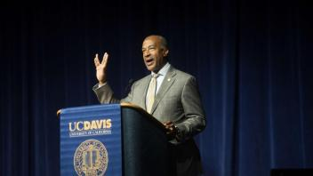Students attend the New Student Celebration to listen to speakers and watch UC Davis group perform on Monday September 25, 2017. Chancellor Gary May speaks to the students and welcomes them with a Vulcan greeting from Star Trek.