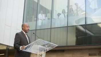 The new Betty Irene Moore Hall School of Nursing grand opening on October 13, 2017. Chancellor Gary May speaks at the grand opening. Tours included the learning classrooms, home health simulation, primary care clinic simulation, hospital ward simulation, and task training lab.