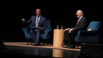 Chancellor May holds a Q&A session with Alan Alda