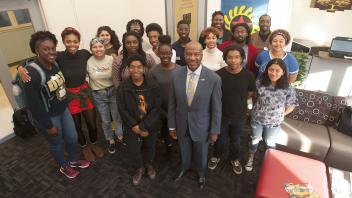 UC Davis Chancellor Gary May visits with students at the Center of African Diaspora Student Success on December 1, 2017.