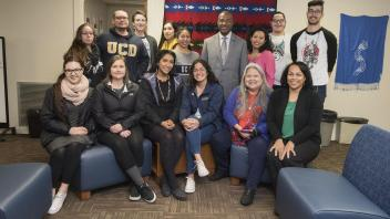 UC Davis Chancellor Gary May visits the Native American Academic Student Success Center on December 4, 2017.