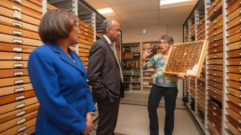 Dean Helene Dillard and Chancellor Gary May tour of the Bohart Museum and the Museum of Wildlife and Fish Biology on February 6, 2018.