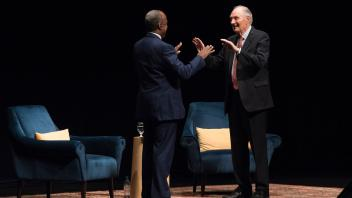 "First Chancellor's Colloquium hosted by Gary May featuring Alan Alda's talk ""Getting Beyond a Blind Date with Science."""