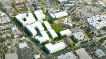 Basic rendering of the future Aggie Square, located in Oak Park, Sacramento.