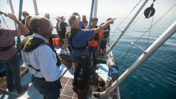 Chancellor Gary May goes onto Lake Tahoe with Tahoe Environmental Research Center on August 23, 2017. He also witnessed the solar eclipse on the lake.