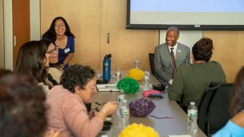 Chancellor Gary May visits with the Latinx Staff and Faculty Association.