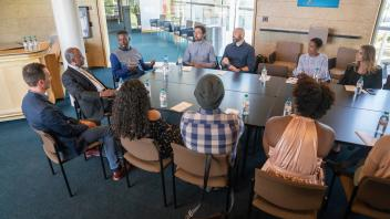 Gary Grice, known by the stage name GZA a.k.a. The Genius met with a small group of administors, faculty, staff and students before his talk at the Chancellor's Colloquium in Jackson Hall at the Mondavi Center on May 21, 2018.