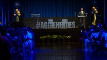 The new Fall Welcome theme was Aggie Heroes, focused on how we can do good on campus. In additional to performances and social media interactions,  the program also included short presentations — by faculty and student pairs — on the topics of food availability, diversity-equity and mental health.