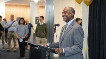 Chancellor May speaks during The Pantry re-opening ceremony for the new location on the first floor of the Memorial Union on March 4, 2019.