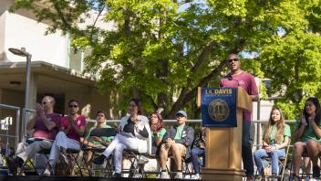 Chancellor May speaks during the parade opening ceremonies at the 105th UC Davis Picnic Day held on April 13, 2019.