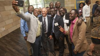 UC Davis Provost Ralph J. Hexter with students