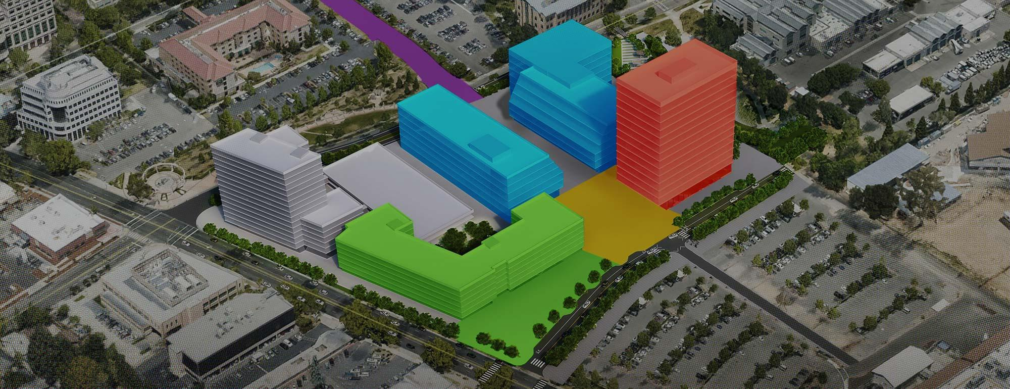 Aerial view showing the proposed Aggie Square development