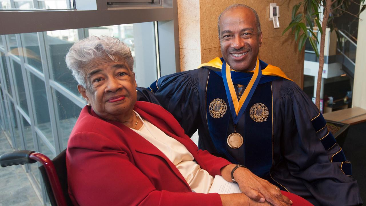 UC Davis Chancellor Gary May with his mother Gloria May