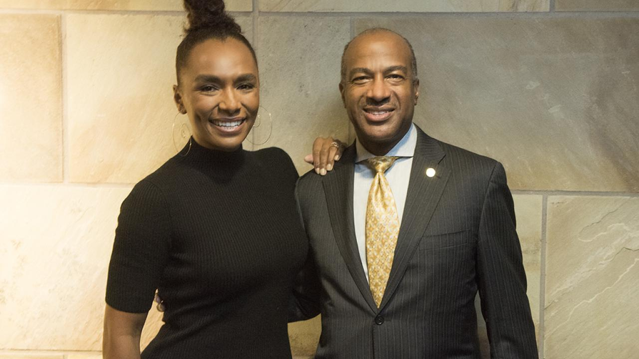 UC Davis Chancellor Gary May with Janet Mock
