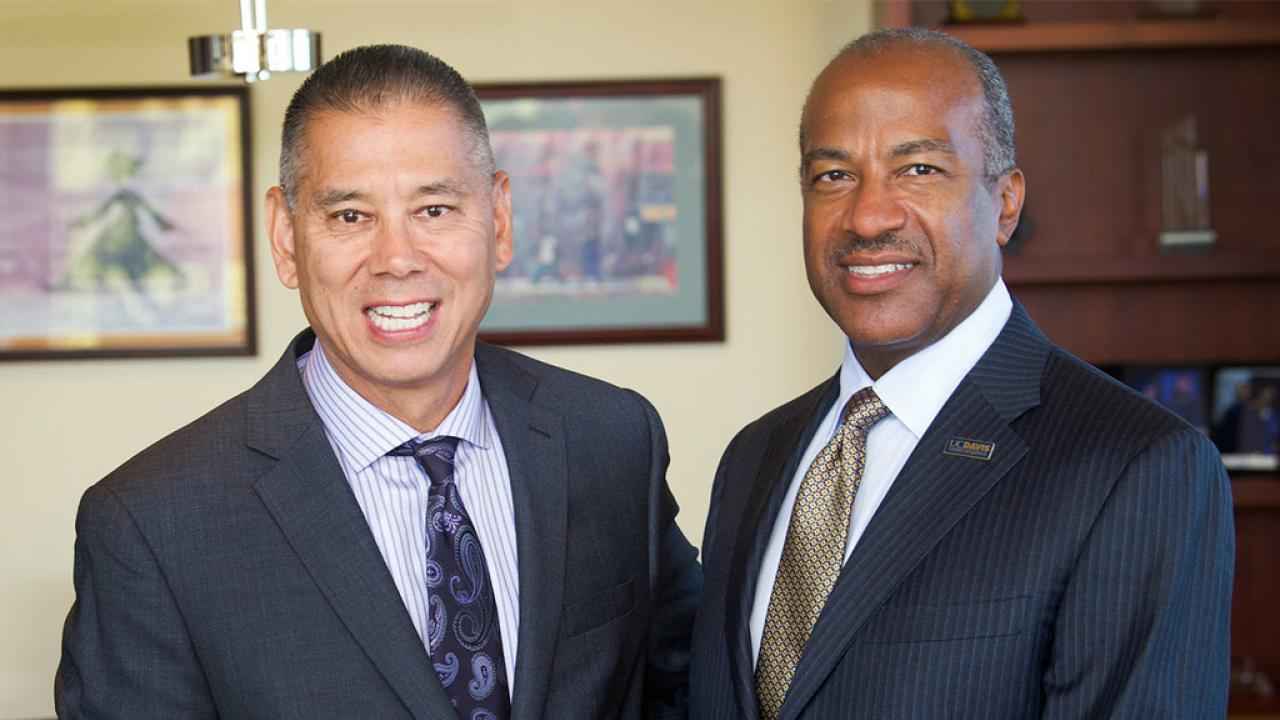 UC Davis Chancellor Gary May with UC Davis Police Chief Joseph Farrow