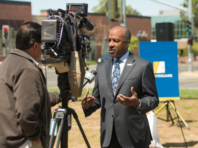 Chancellor May talks with local news stations about Aggie Square