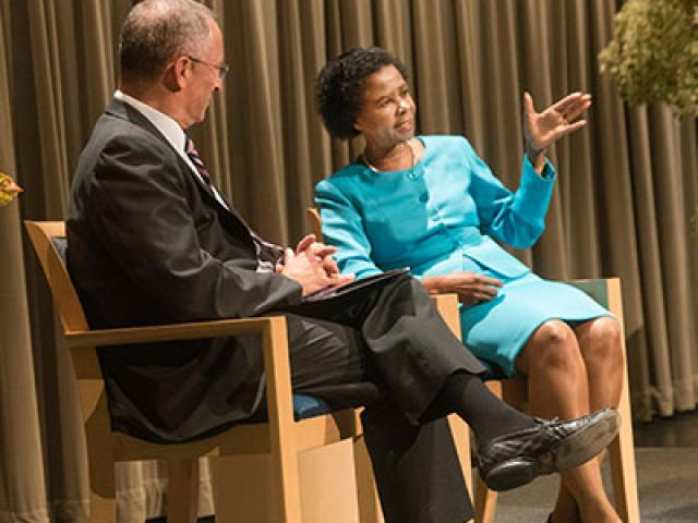 UC Davis Provost and Executive Vice Chancellor Ralph J. Hexter and Dr. Mamphela Aletta Ramphele share the stage during a discussion following Ramphele's talk in the Vanderhoef Studio Theatre as part of the Chancellor's Colloquium Distinguished Speakers Series on Monday, September 29, 2015.