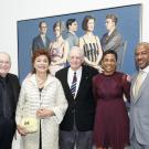 UC Davis Chancellor Gary May with LeShelle May, Wayne Thiebaud and Jan and Maria Manetti Shrem