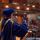 Chancellor May ends his commencement speech with Live Long and Prosper!