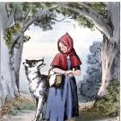 Illustration of Little Red Riding Hood meeting the wolf in a forest