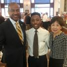 UC Davis Chancellor Gary May with Doris Matsui and Davares Robinson